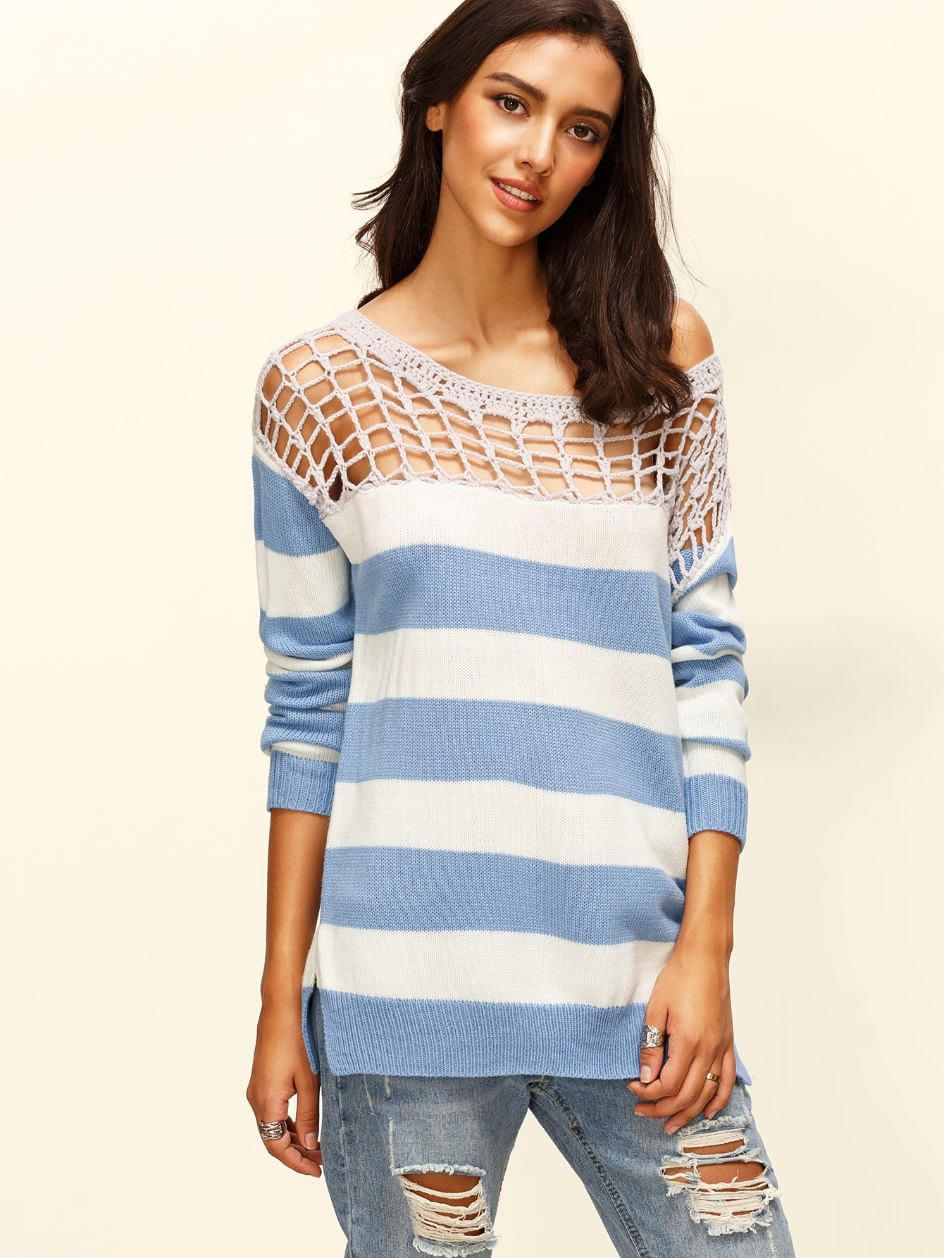 15$  Buy here - http://diyeo.justgood.pw/go.php?t=8101 - Blue And White Striped Hollow Out Neck Sweater 15$