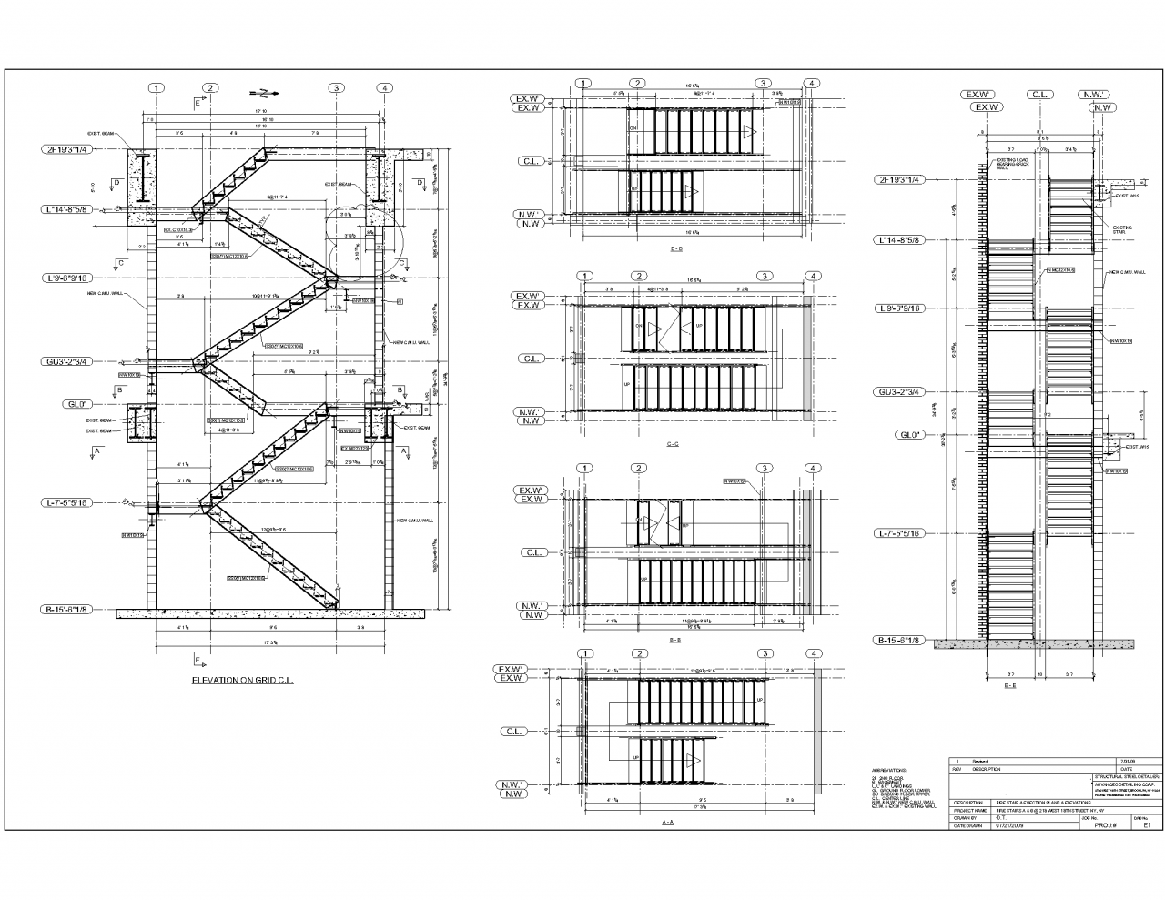 Steel Stairs Shop Drawings