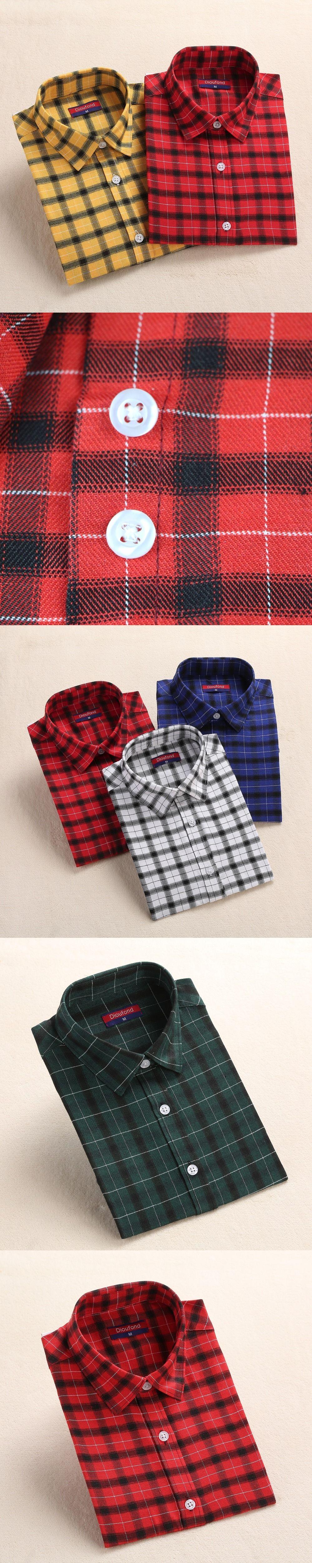 Plus size womens flannel shirt  Dioufond Women Flannel Plaid Shirt  Autumn Long Sleeve Blouse