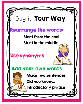 Paraphrasing Task Card Say It In Your Own Word 2021 Writing Center Activitie Instruction Cards Resources Resource