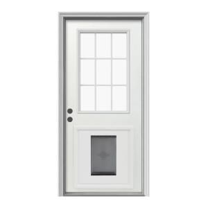 exterior back door with dog door. replace back door with one that has a window in it (and doggie exterior dog s
