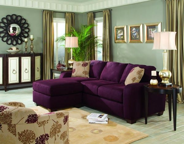 Purple sofa on pinterest purple furniture purple for Purple sofa
