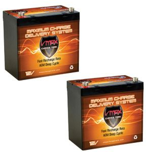 2 agm trolling motor batteries ideal for 41lb motors 60 for Longest lasting trolling motor battery
