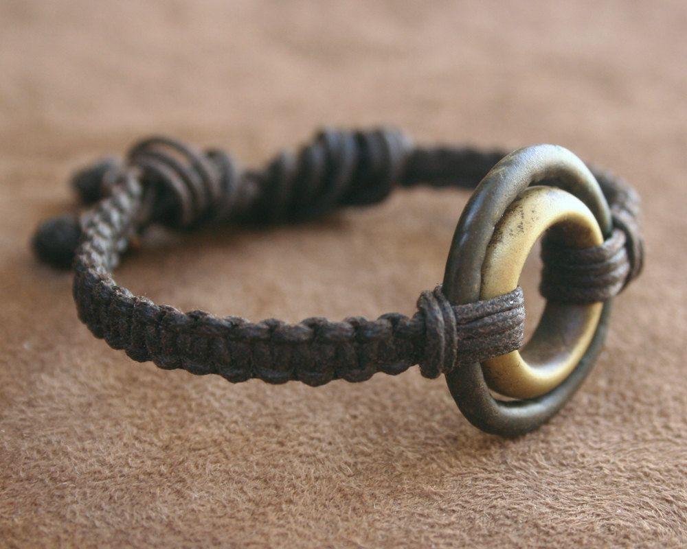 Macrame Bracelet and Ancient African Bronze & Brass Rings Adjustable Woven Linen
