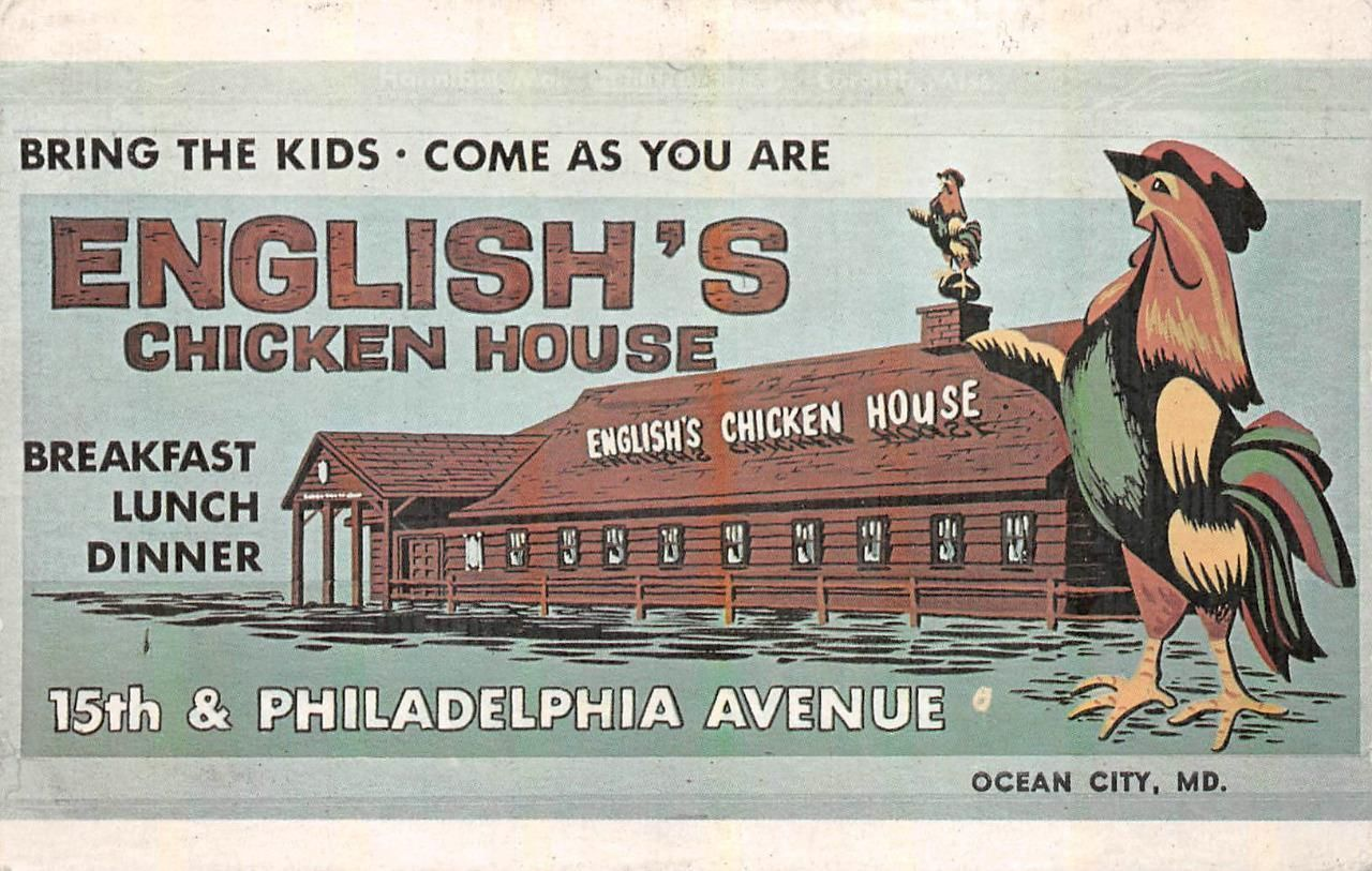 ENGLISH'S CHICKEN HOUSE OCEAN CITY MARYLAND ADVERTISING POSTCARD (c. 1940s) | eBay