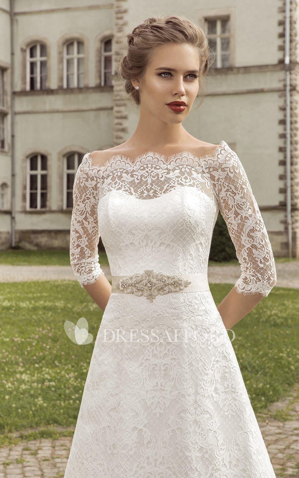 Aline crystal shortsleeve scallopedneck dress dress