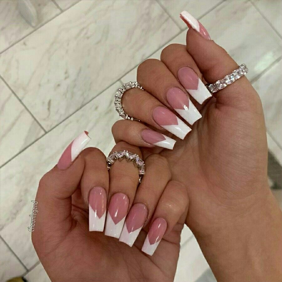 Pin By Bron On Manicure Tapered Square Nails Long Nails White Tip Acrylic Nails