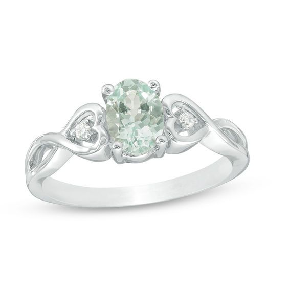 Oval Aquamarine And Diamond Accent Heart Sides Promise