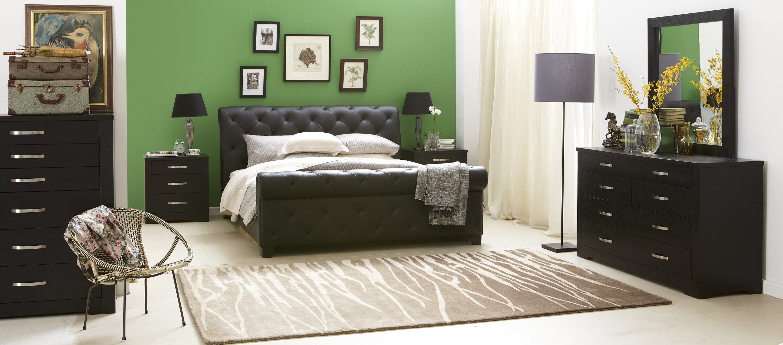 Black Bedroom Suite Forty Winks Century Luxurious Modern Studded Leather Bed And Black