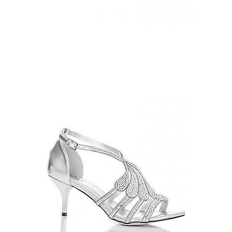 94dc98a5a6fdc Quiz Silver Diamante Swirl Low Heel Sandals- | Debenhams | Weddings ...