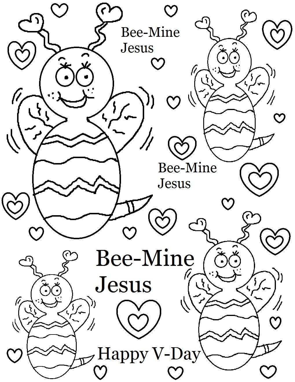 Bee Mine Jesus Coloring Page Valentine Coloring Pages