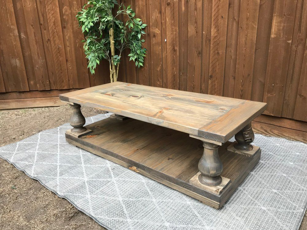 Balustrade Wood Weathered Gray Farmhouse Coffee Table Unique