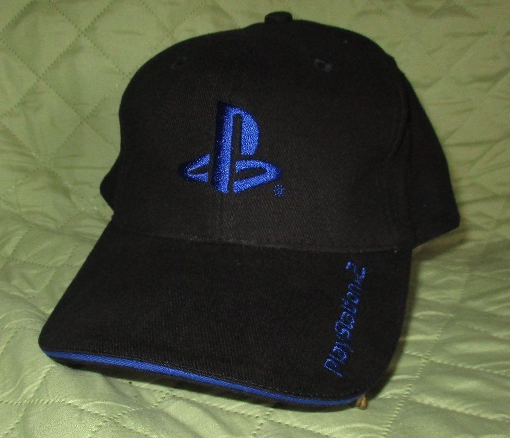 best loved a8adc 16e6d PlayStation 2 Baseball Hat Velcro One Size Fits All Cap Black Blue   BaseballCap