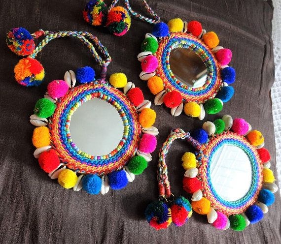 Real Mirror and Shell Long Pom Pom Multicolor Necklace Set