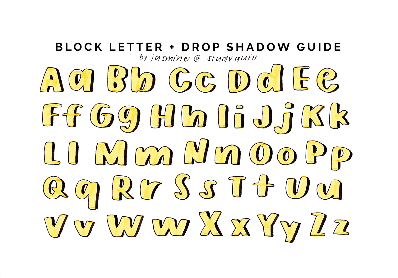 """studyquill: """" drop shadow guide for block letters! video"""