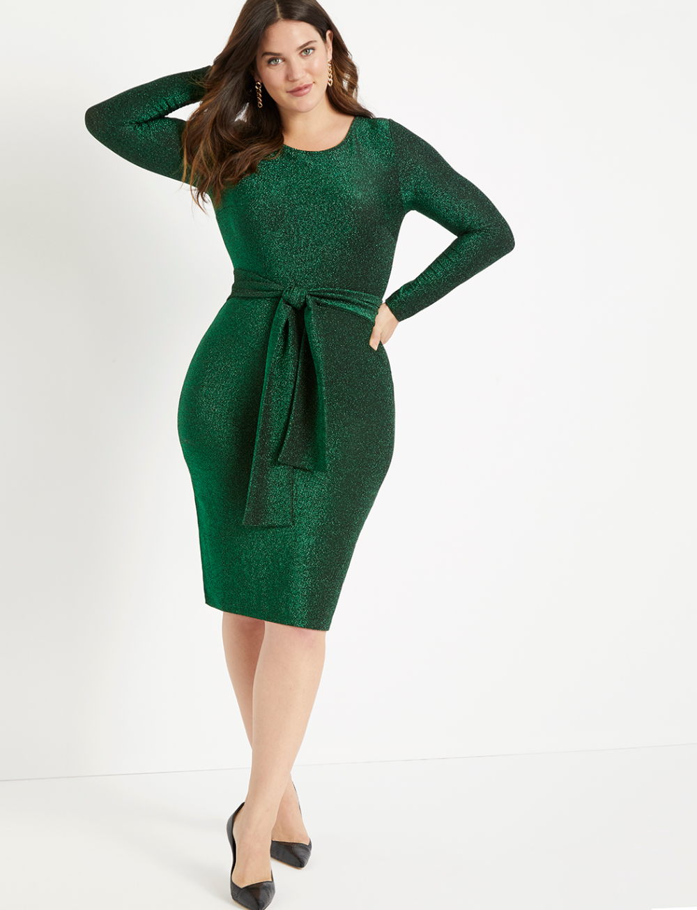 Lurex Tie Waist Dress Women's Plus Size Dresses