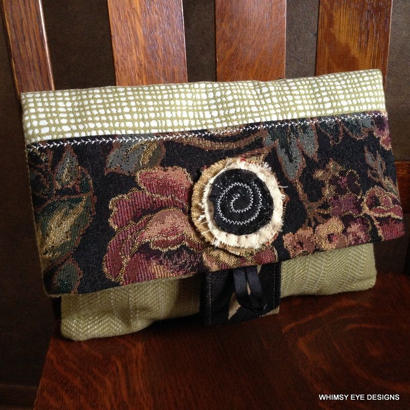 Upcycled Clutch, iPad Sleeve, Small Tablet Sleeve by WhimsyEyeDesigns on Etsy