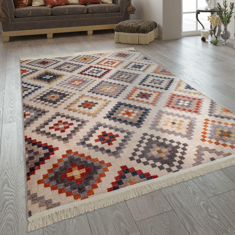 Schlafzimmer Kurzflor Teppich Ethno Rauten Muster In 2020 Teppich Wohnzimmer Wohnzimmer Teppich Teppich Bunt