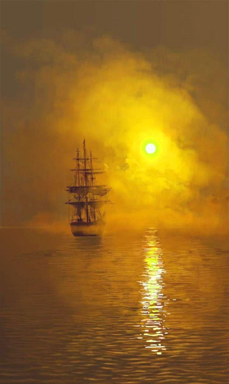 Into the golden sunset - Turner | Comment peindre, William turner et Peinture mer