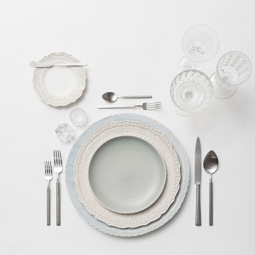 RENT: Lace Chargers in Dusty Blue + Lace Dinnerware in White + Heath Ceramics in Mist + Axel Flatware in Matte Silver + Vintage Cut Crystal Goblets + Vintage Champagne Coupes + Antique Crystal Salt Cellars
