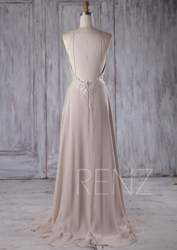 2017 Cream Chiffon Bridesmaid Dress Deep V Neck by RenzRags  9b679893e