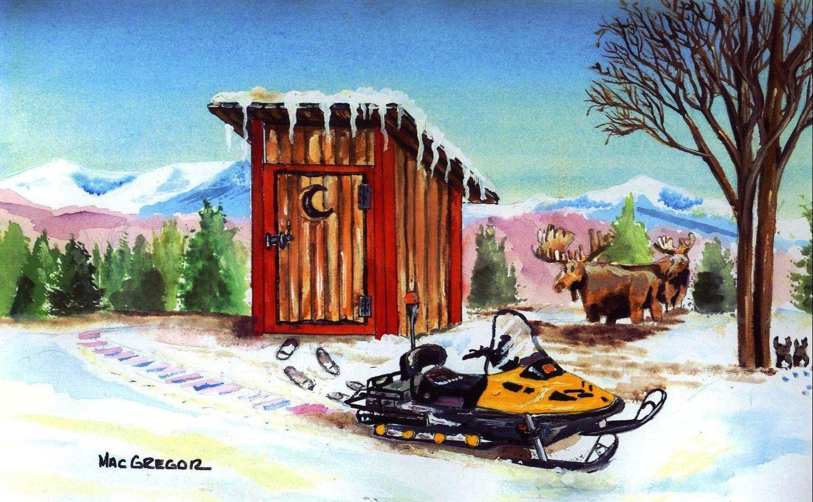 Snowmobile Art Print Outhouse Ski Doo Polaris Snow Cat Bath Decor Moose Winter Ebay Art Painting Art Prints