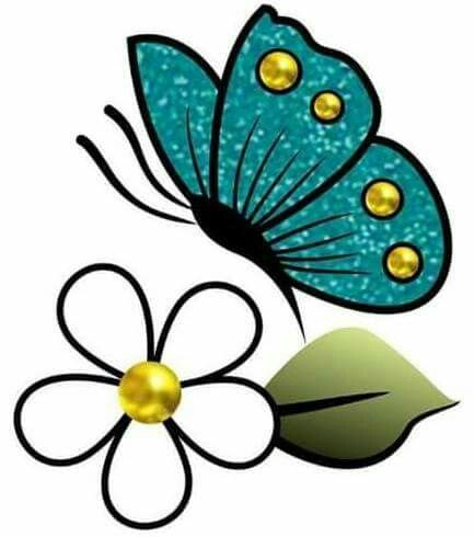 Flores y mariposas | Cross stitch world | Painted flower