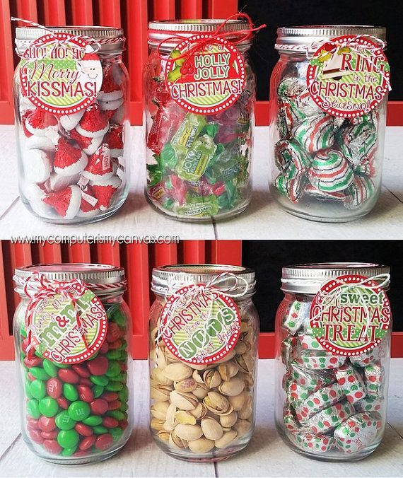 Christmas Gift Tags, Mason Gar Gift Ideas, Holidays, Candy - Printable INSTANT Download