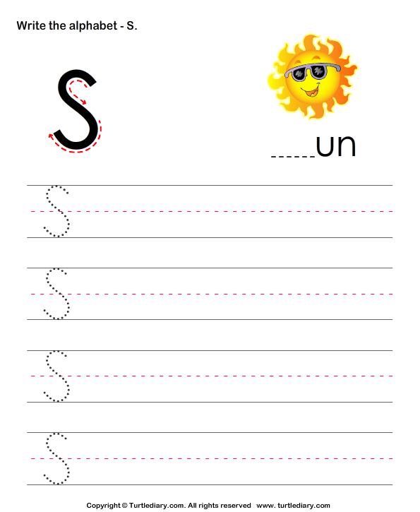 Download and print Turtle Diarys Uppercase Alphabet Writing – Letter S Worksheets for Preschool