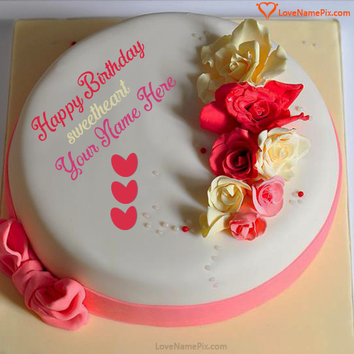 Plain Roses Birthday Cake For Lover With Name Photo Happy