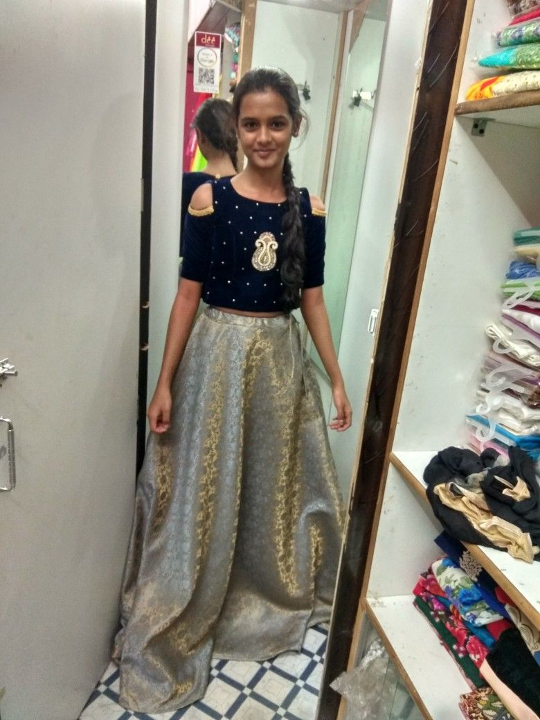 Customised Lehenga And Velvet Crop Top At Dee Boutique