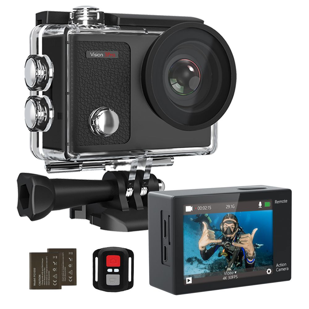 Dragon Touch 4K Action Camera 16MP Vision 3 Pro WiFi 100ft