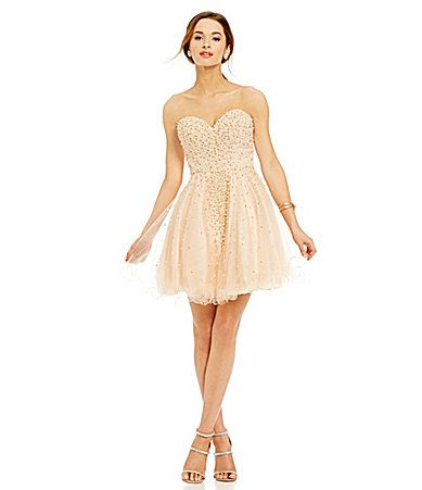 954fd95206a Glamour by Terani Couture Pearl Beaded Party Dress  Dillards ...