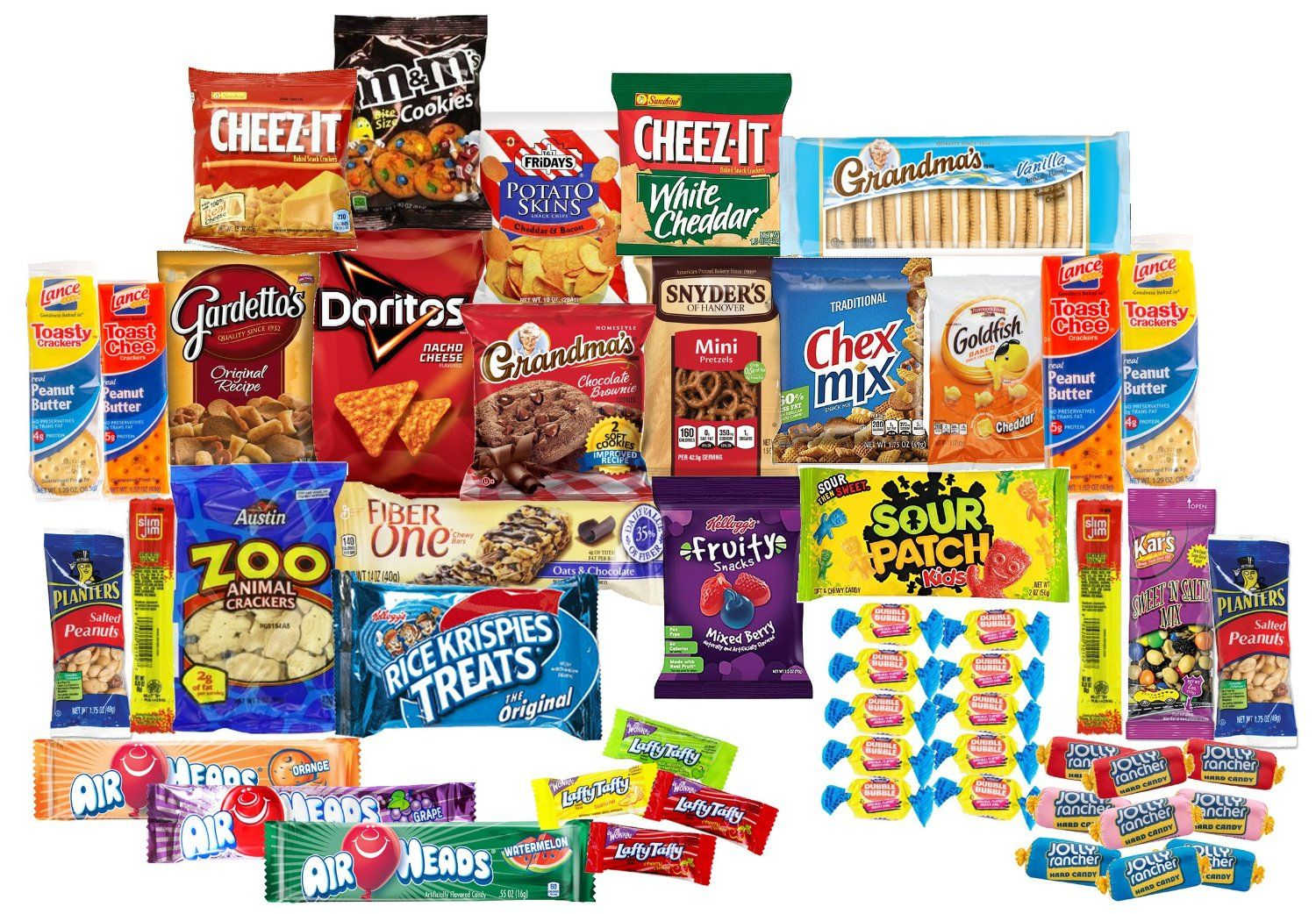 Care package with 50 sweet salty snacks variety snack