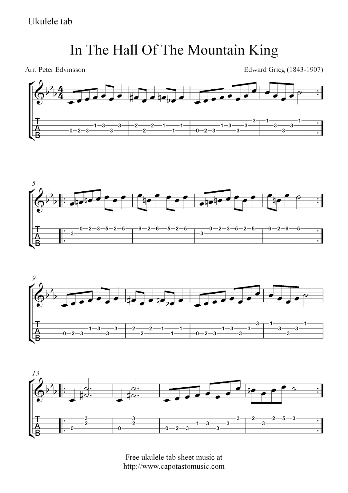 Free sheet music scores free ukulele tab sheet music in the hall free sheet music scores free ukulele tab sheet music in the hall of the hexwebz Gallery