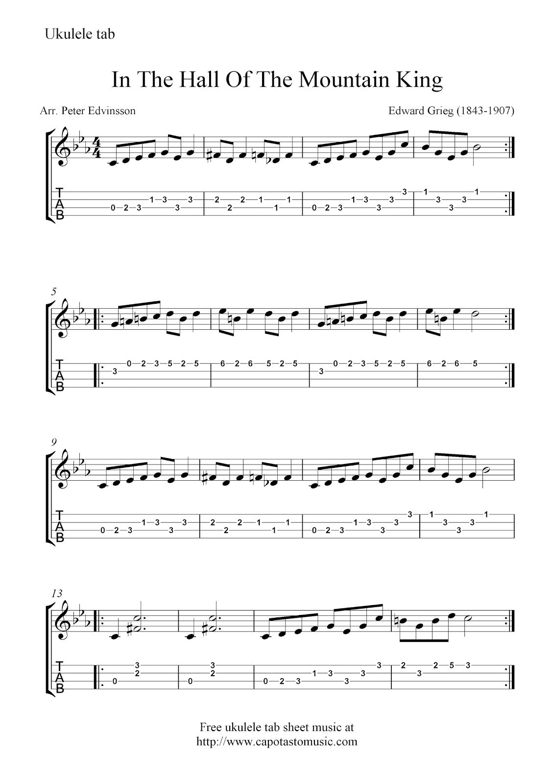 Free Sheet Music Scores Free Ukulele Tab Sheet Music In The Hall