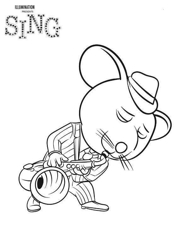 Dibujos para colorear de la pelicula Canta o sing. Pinta a Buster ...