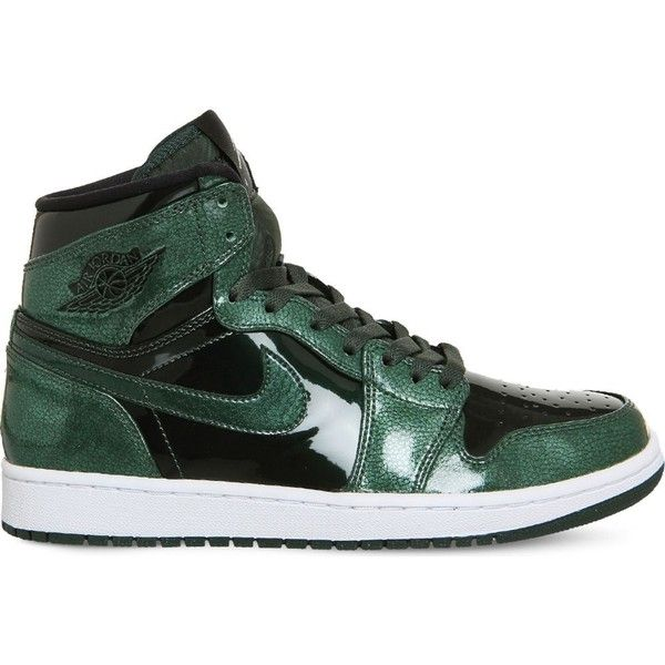 Nike Air Jordan 1 Retro metallic-leather trainers ($120) ❤ liked on Polyvore featuring men's fashion, men's shoes, men's sneakers, mens leather sneakers, mens metallic gold sneakers, mens retro sneakers, mens leather shoes and mens green shoes