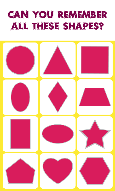 Shapes Match: Memory Game: is a concentration-style educational memory game  for kids and adults to experience Shapes. Visit us at apps.eddypaddy.com