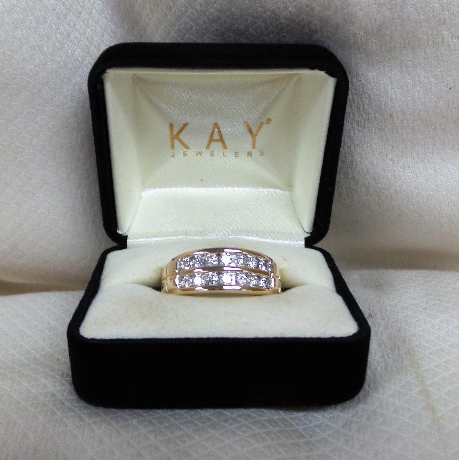 Kay Jewelers 10k Yellow Gold Mens Round Diamond Ring Band