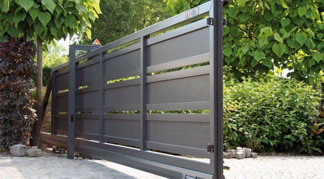 Sliding gate metal bar panel modern system for Modern gate designs wood and steel