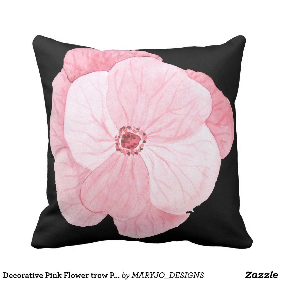 Decorative Pink Flower Trow Pillow Zazzle Com Pillows Flower Pillow Pink Flowers