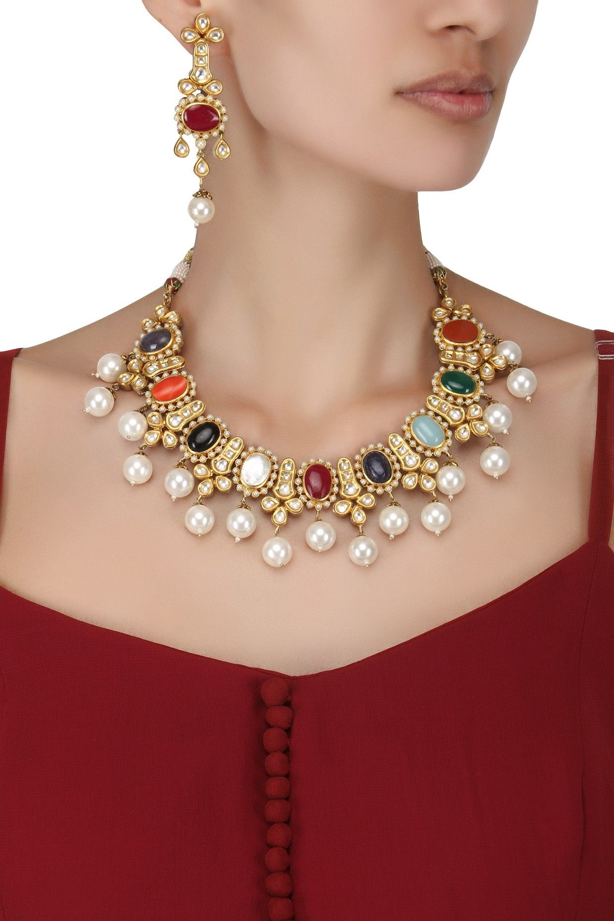 Auraa trends gold finish kundan and pearls navratna necklace set
