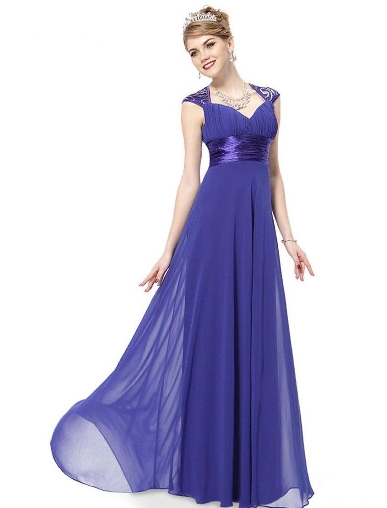 neck Sequins Chiffon Ruffles Empire Line Evening Bridesmaid Dress