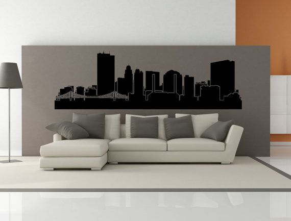 Premium toledo ohio city skyline interior wall decal without lettering