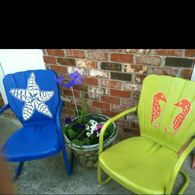 Painted Metal Lawn Chairs By Glassmermaid Metal Lawn