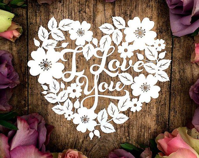 Card Making Ideas Pdf Part - 31: Papercut Template Heart Wreath U0027I Love Youu0027 Valentines Wedding Card Making  PDF JPEG For
