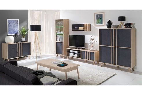 Meuble De Rangement 4 Portes Strasbourg Br Imitation Sonoma Et Gris Mobilier De Salon Meuble Salon Decoration Chambre