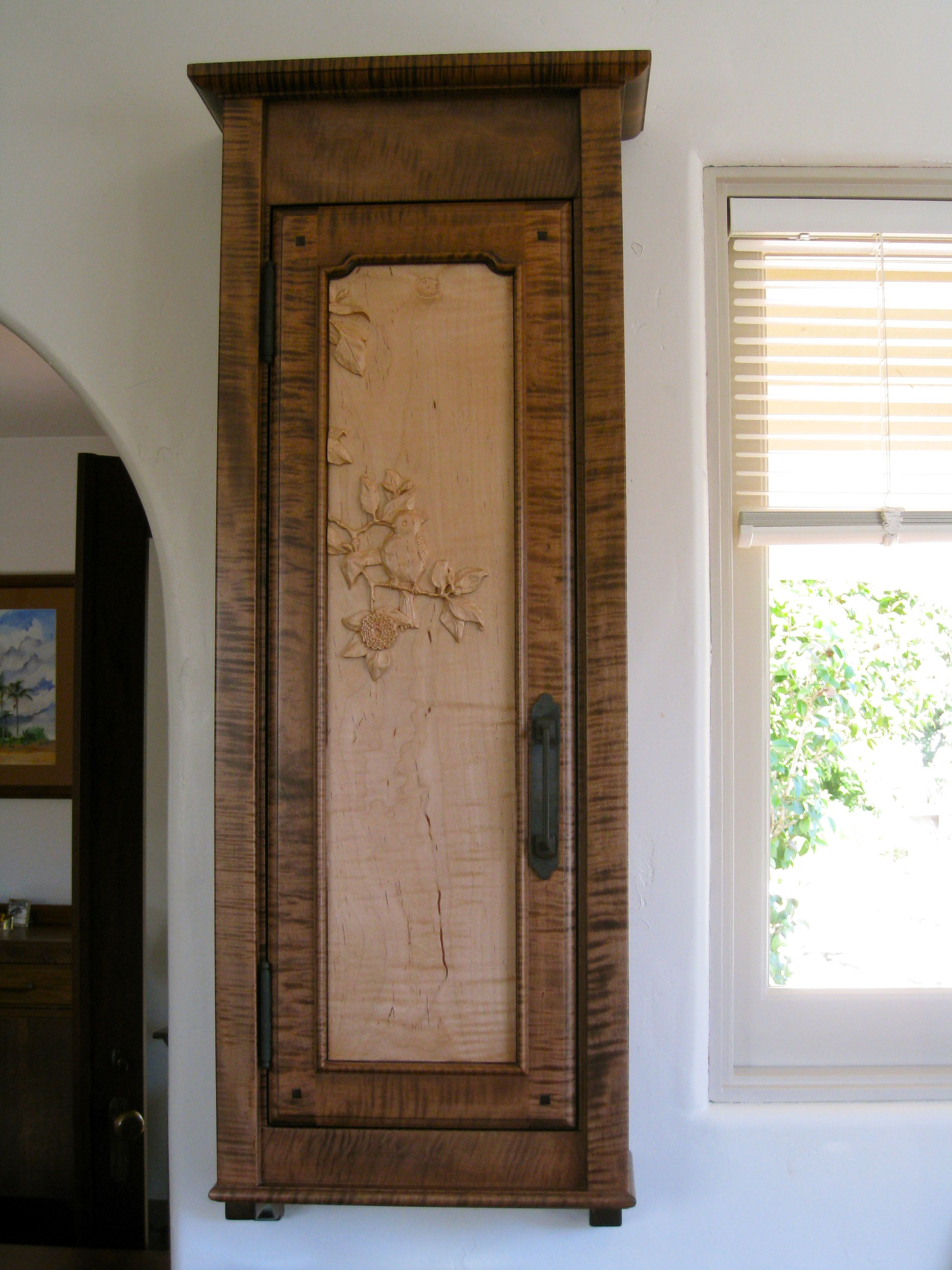 Spice Cabinet With Hand Carved Cabinet Door Panel Bird In A