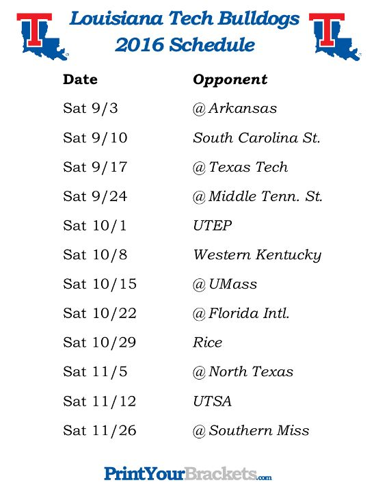 Printable Louisiana Tech Bulldogs Football Schedule 2016 Florida